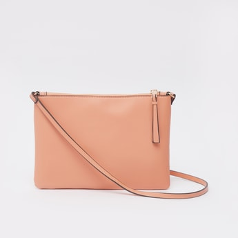 Textured Crossbody Bag with Strap and Zip Closure