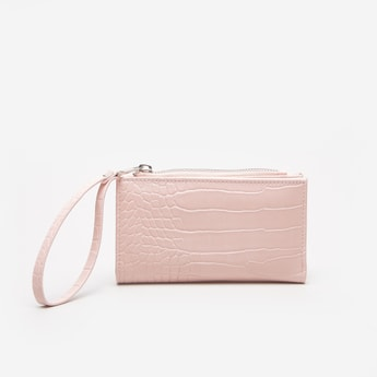 Textured Bi-Fold Wallet with Wristlet
