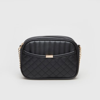 Textured Crossbody Bag with Metallic Strap and Zip Closure