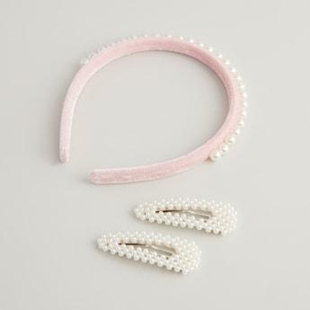 3-Piece Beaded Headband and Hair Clips Set
