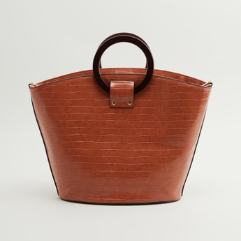 Textured Tote Bag with Circular Handles
