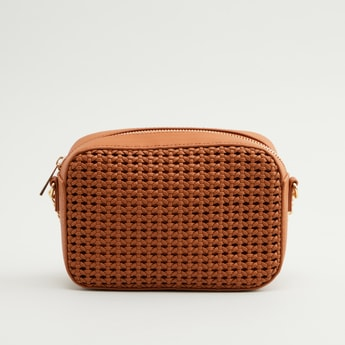 Textured Crossbody Bag with Chain Detail Strap