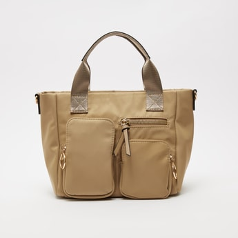 Solid Tote Bag with Pocket Detail and Detachable Shoulder Strap