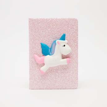 Single Line Notebook with Textured Cover and Unicorn Applique