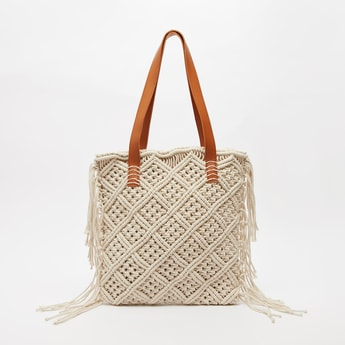 Embroidered Tote Bag with Tassels and Short Handles