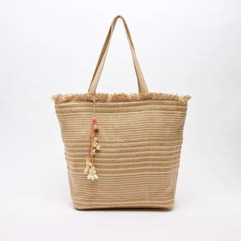 Stripe Textured Fabric Tote Bag with Shell Charms