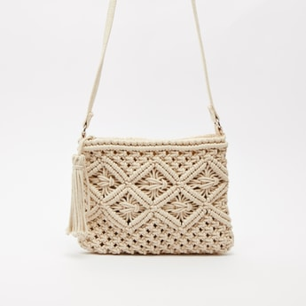 Woven Textured Crossbody Bag