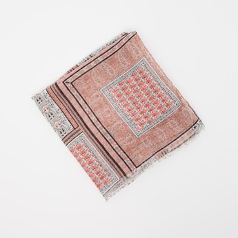 Traditional Print Scarf with Frayed Hem