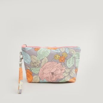 Floral Print Travel Pouch with Wrist Tag