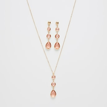 Crystal Drop Necklace and Earrings Set