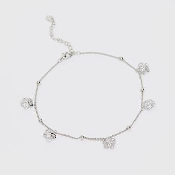 Anklet with Embellished Flower Charms