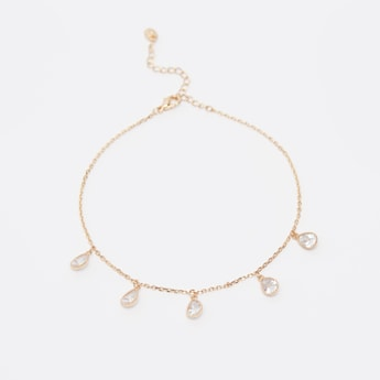 Anklet with Teardrop Shaped Crystal Charms