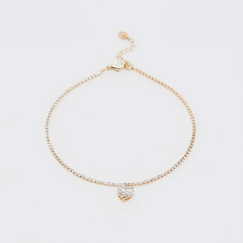 Crystal Studded Anklet with Heart Shaped Charm