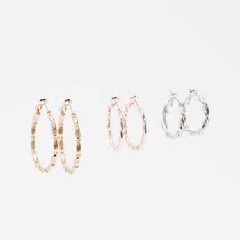 Set of 3 - Assorted Hoop Earrings