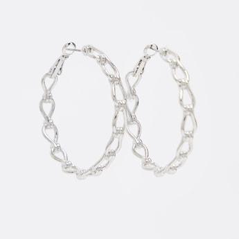 Metallic Dangling Earrings with Hinged Hoop