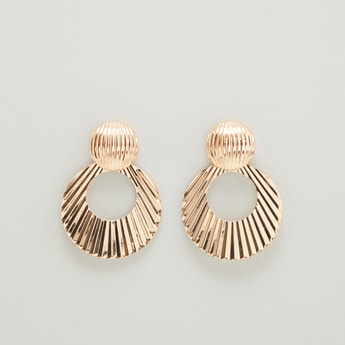 Embellished Dangling Hoop Earrings with Pushback Closure
