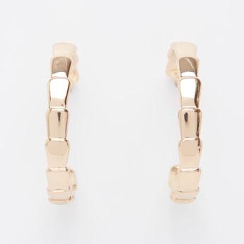 Metallic Hoop Earrings with Pushback Closure