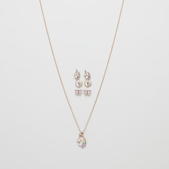 Studded 4-Piece Necklace and Earrings Set