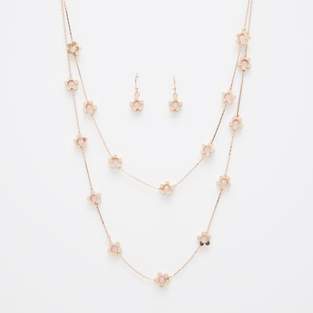 Bead Detail Multi-Layer Necklace and Earrings Set