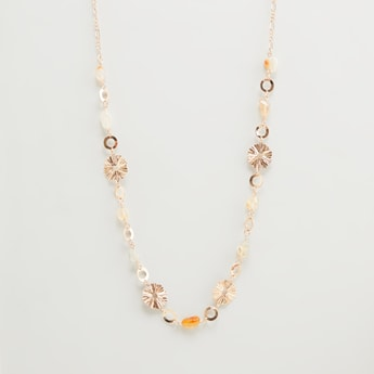 Embellished Long Necklace with Lobster Clasp