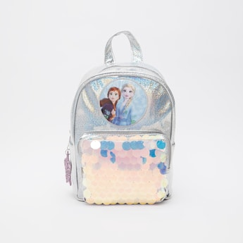 Elsa and Anna Printed Backpack with Sequin Embellishments