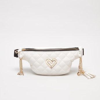 Quilted Waist Bag with Heart-Shaped Metal Accent