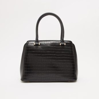 Textured Dome Bag with Twin Handles and Detachable Strap