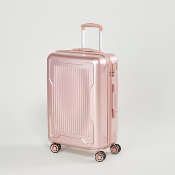 Textured Hard Case Luggage with Retractable Handle and Caster Wheels - 44x25.5x67 cms