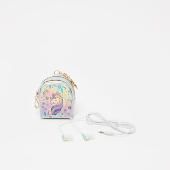 Unicorn Applique Detail Earphones with Pouch