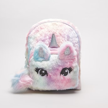 Plush Unicorn Backpack with Adjustable Shoulder Straps and Zip Closure