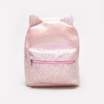 Backpack with Glitter Finish and Animal Ear Appliques