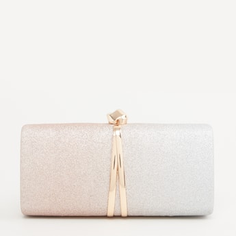 Glitter Detail Clutch Purse with Metallic Knob Closure