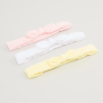 ربطة رأس بارزة الملمس بفيونكة - طقم من 3 قطع