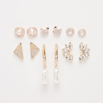 Set of 6 - Assorted Embellished Earrings with Pushback Closure