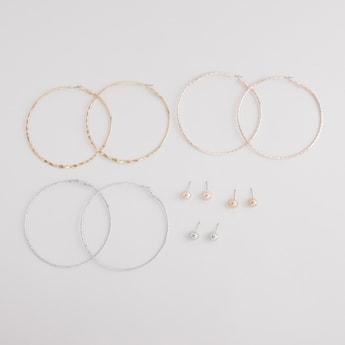 Set of 6 - Assorted Stud and Hoop Earrings