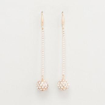 Studded Dangling Earrings with Fish Hook Closure