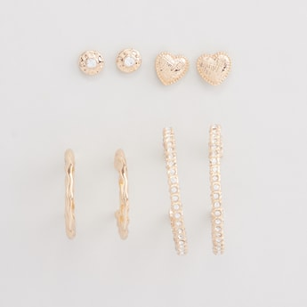 Set of 4 - Embellished Earrings with Pushback Closure
