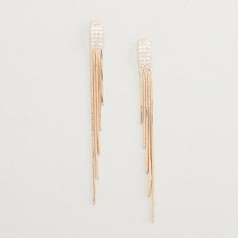 Studded Long Dangler Earrings with Push Back Closure