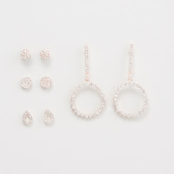 Set of 4 - Studded Earrings with Pushback Closure