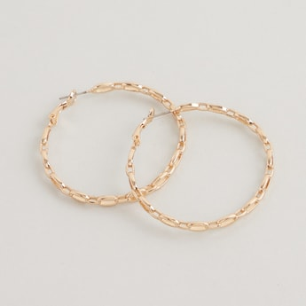 Metallic Hinged Hoop Earrings