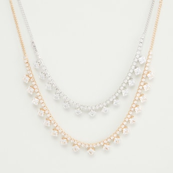 Studded Multi-Layer Necklace with Lobster Clasp