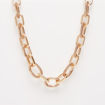 Textured Loop Pattern Long Necklace