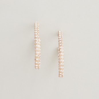 Crystal Studded Curved Earrings
