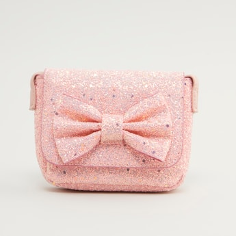 Embellished Satchel Bag with Bow Applique