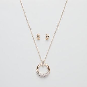 Studded Pendant Necklace with Earrings Set