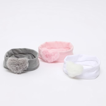 Set of 3 - Hairbands with Plush Heart Applique