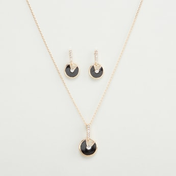 Embellished Pendant Necklace and Dangling Earrings Set