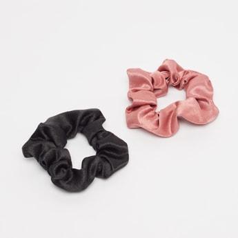 ربطة شعر بارزة الملمس مستديرة مطاطية - طقم من قطعتين