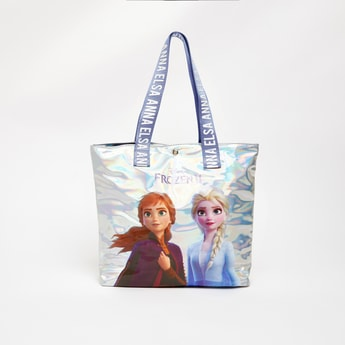 Frozen Print Tote Bag with Double Handle and Button Closure