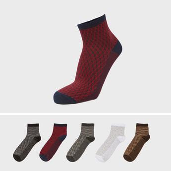 Set of 5 - Textured Socks with Cuffed Hem